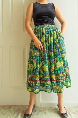 Green flower retro skirt S/M