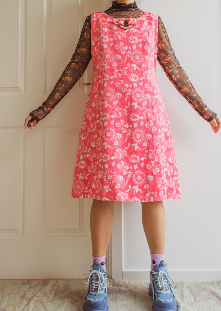 Amazing pink retro dress L/XL