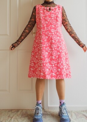 Amazing pink retro dress L/XL