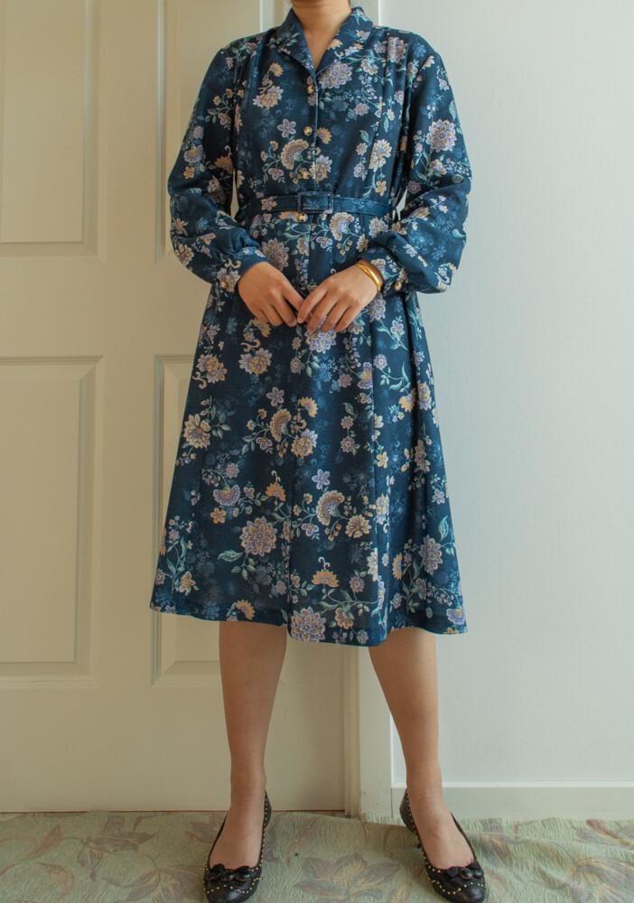 Dark blue retro dress L/XL