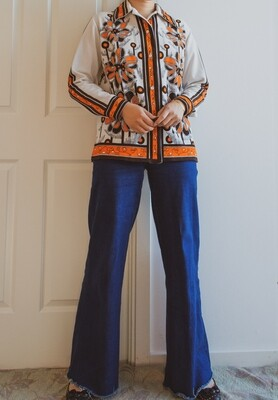 (Reserved) 70s graphic pattern blouse L