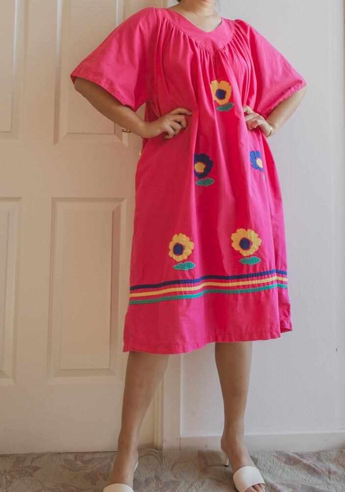 80s cotton flower dress L/XL