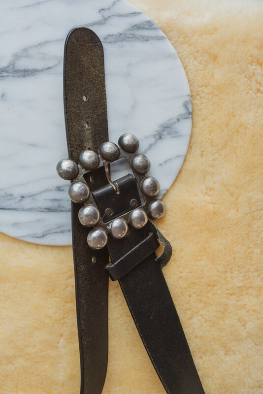 Black thick leather belt