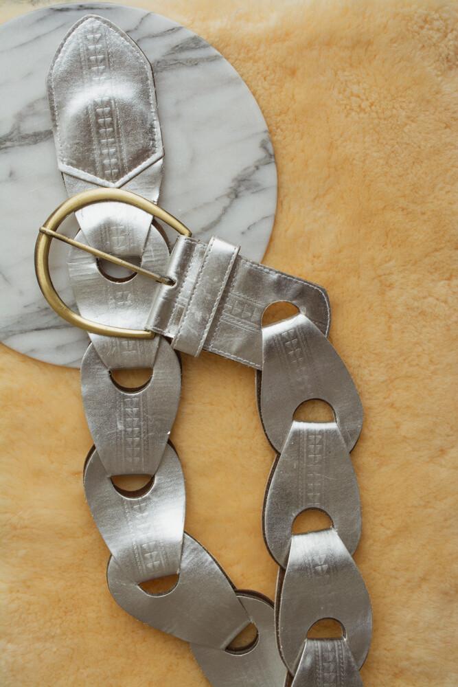 Silver white belt