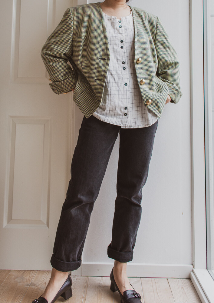 Green houndstooth wool blazer L/XL