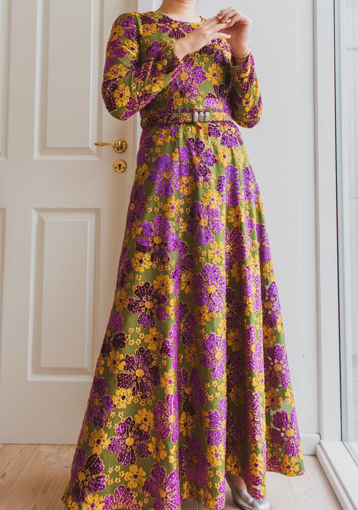 Shiny maxi flower dress S