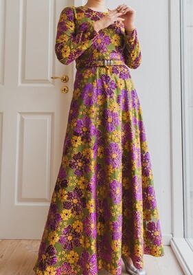Shiny maxi flower dress S