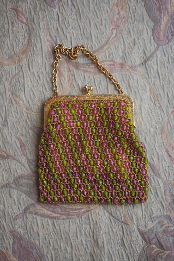 Vintage green and purple bead bag