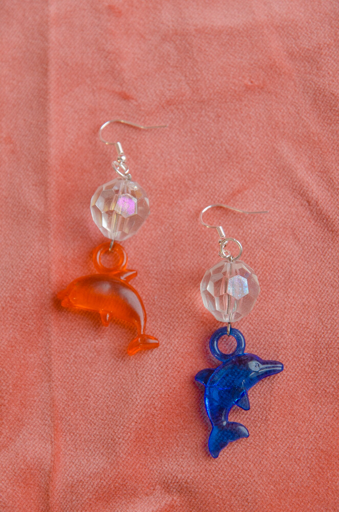 RV remade dolphin earrings