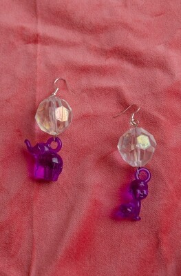 Elephant and baby remade earring
