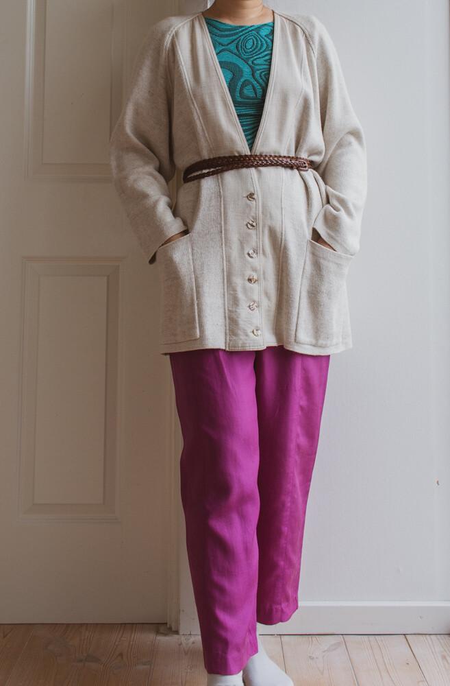 Cream white cardigan L/XL