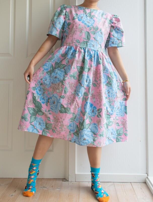 Remade dress Elisabeth- pink M/L