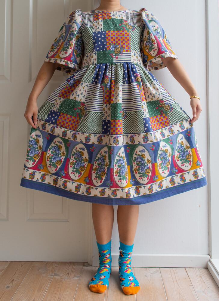 Remade dress Elisabeth-patchwork pattern
