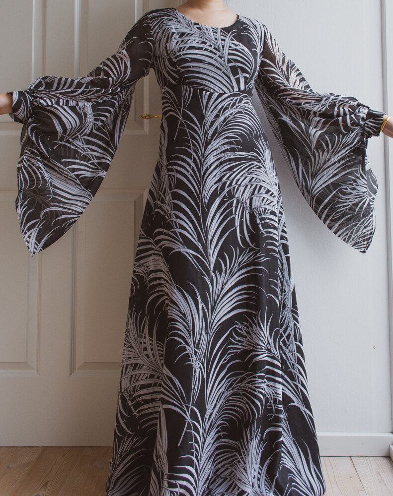 70s huge arm maxi dress M/L