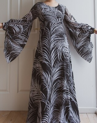 70s huge arm maxi dress M/L