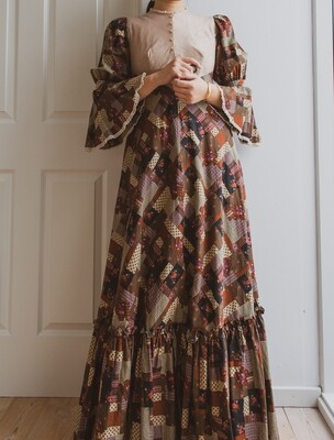 70s patchwork pattern cotton dress S/M