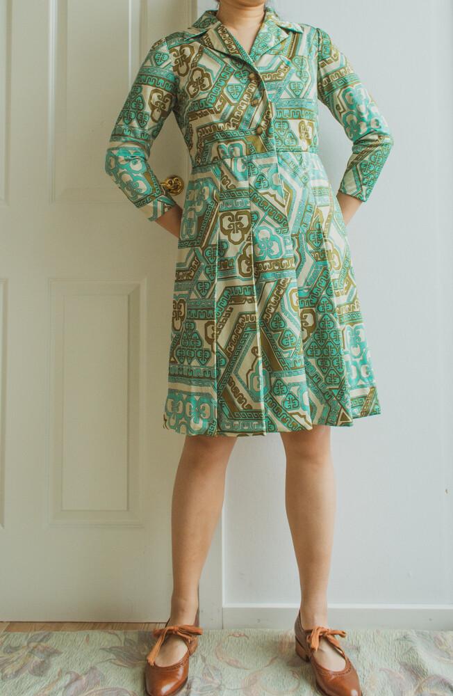 Green retro dress S/M