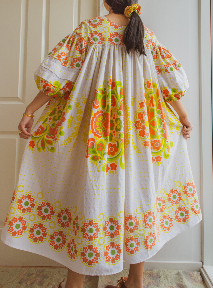 Remade dress Elisa white pattern S/M