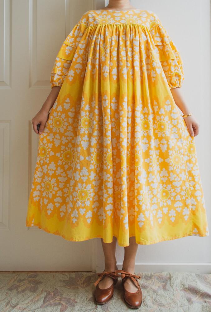 Remade dress Elisa yellow flowers S/M