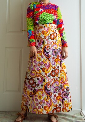 Retro quilted skirt S