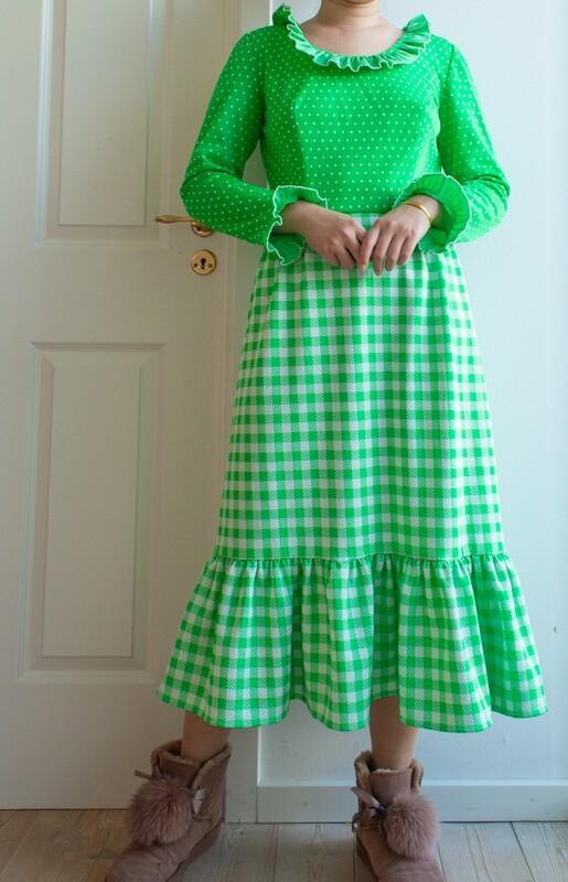 Spring green ruffle dress M/S