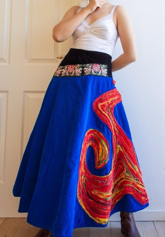 Chinese royal blue velvet skirt M