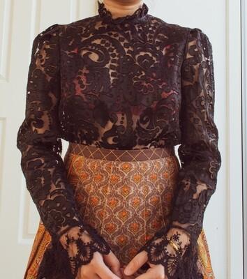 Black see-through retro blouse S/M