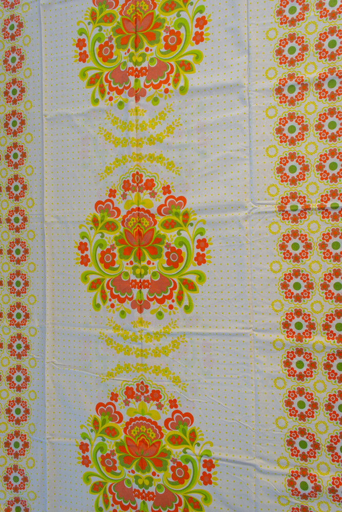 Remade-to-order white flower fabric