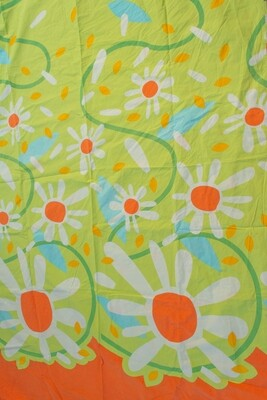 Remade-to-order green flower fabric