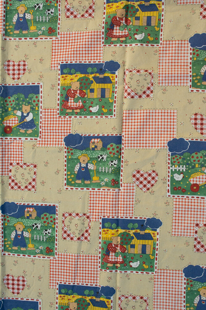 Remade-to-order cute bear fabric