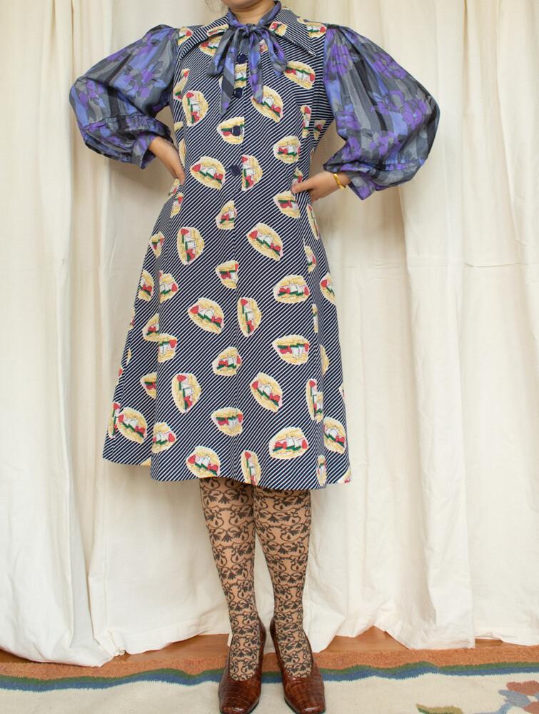Retro blue stripe dress L