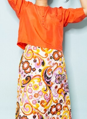 Orange silk light blouse L/M