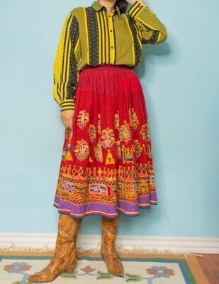 Yellow stripes&dots cotton blouse L/M
