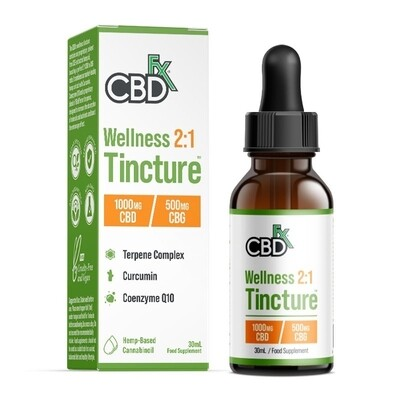 CBDfx 1000mg CBD & CBG Wellness Oil Tincture 30ml