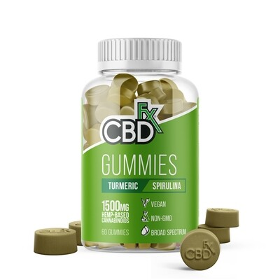 CBD Gummies with Turmeric and Spirulina 1500mg (jar of 60)