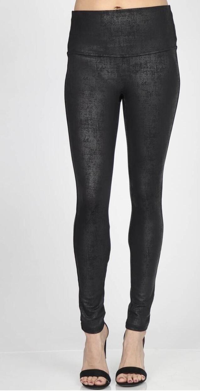 Twill faux leather legging