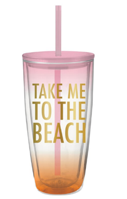 To the Beach Double Wall Tumbler with Straw
