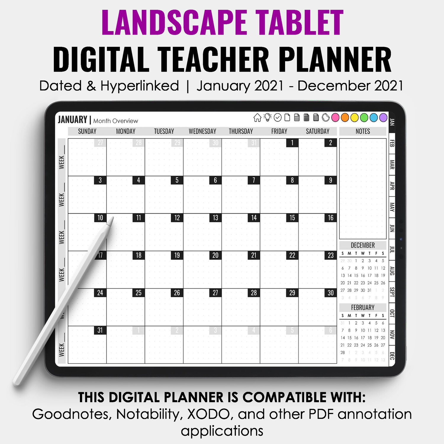 2021 Tablet Digital Teacher Planner | Landscape