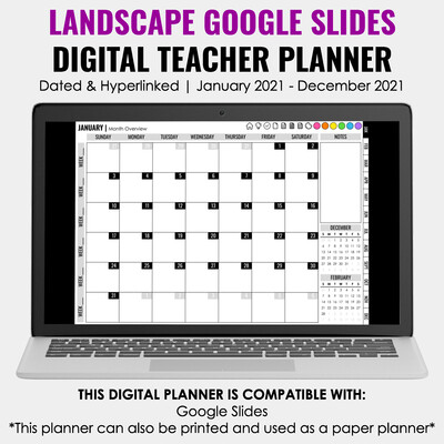 2021 Google Slides Digital Teacher Planner | Landscape