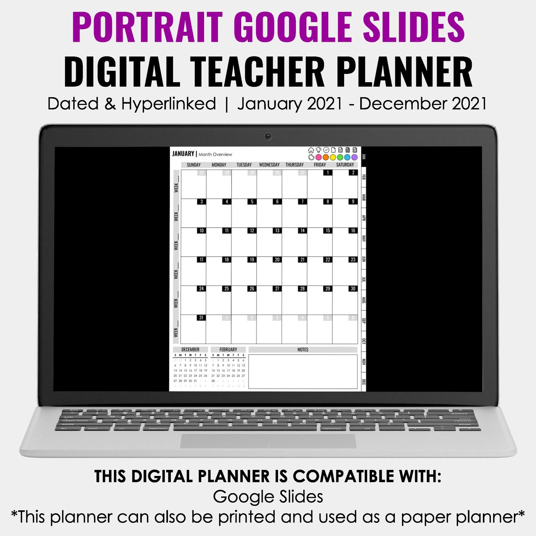 2021 Google Slides Digital Teacher Planner | Portrait