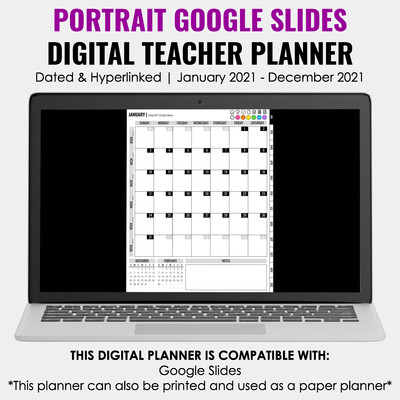 2021 Google Slides Digital Teacher Planner | Portrait