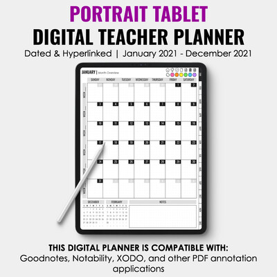 2021 Tablet Digital Teacher Planner | Portrait