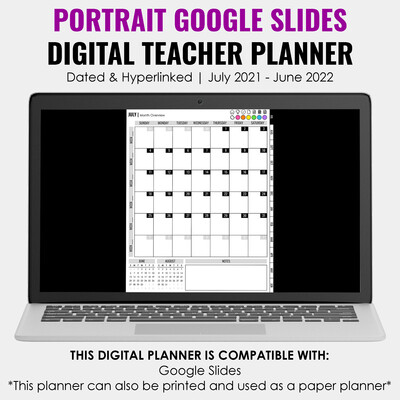 2021-2022 Google Slides Teacher Planner | Portrait