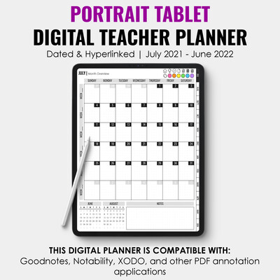 2021-2022 Tablet Digital Teacher Planner | Portrait