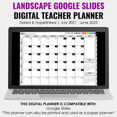 2021-2022 Google Slides Teacher Planner | Landscape
