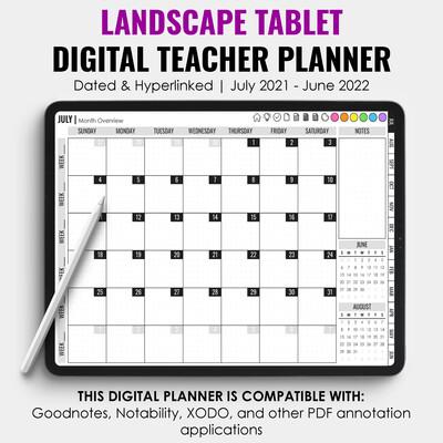2021-2022 Tablet Digital Teacher Planner | Landscape