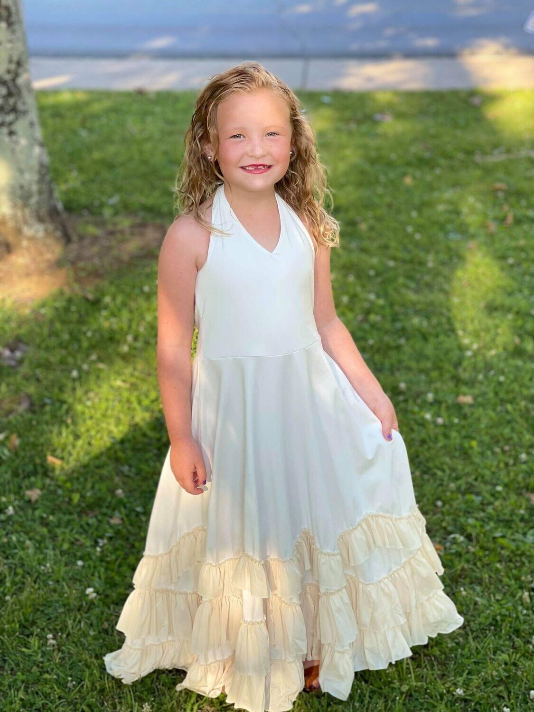 34447 Ivory Ruffle Dress