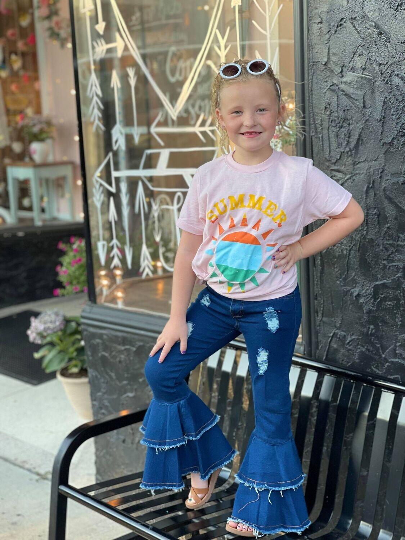 38853 Denim Ruffle Jeans