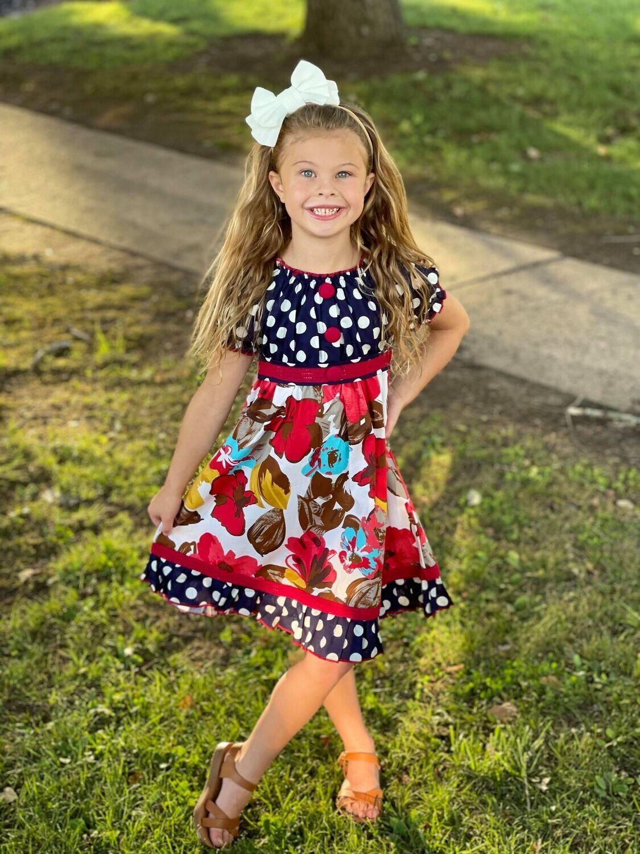 616-LV17B Navy Polka Dot Dress