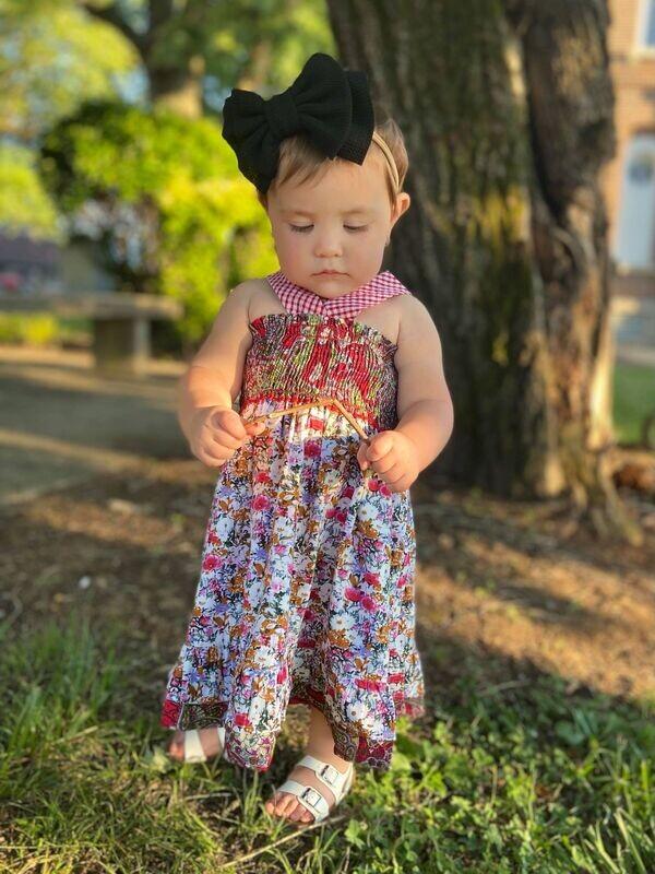 616 Mixed Printed Bow Dress